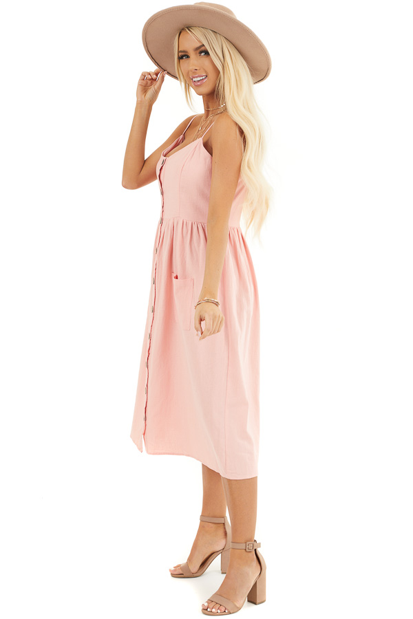 Peach Sleeveless Button Down Midi Dress with Front Pockets side full body
