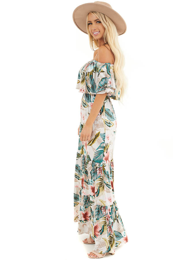 Ivory Tropical Print Off Shoulder Maxi Dress with Ruffle side full body