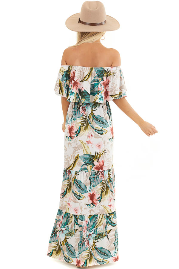 Ivory Tropical Print Off Shoulder Maxi Dress with Ruffle back full body