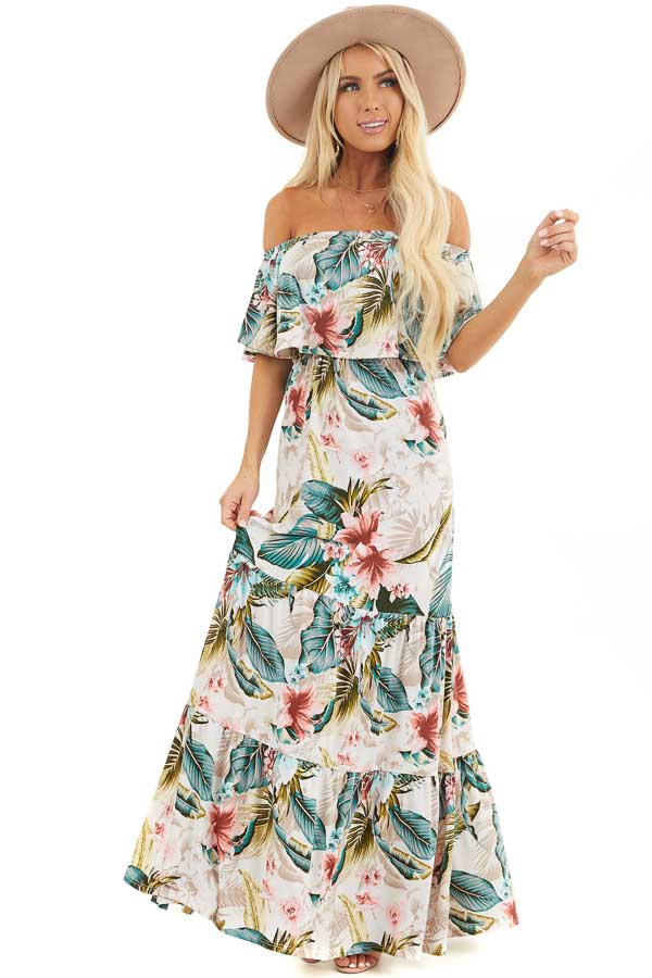 Ivory Tropical Print Off Shoulder Maxi Dress with Ruffle front full body