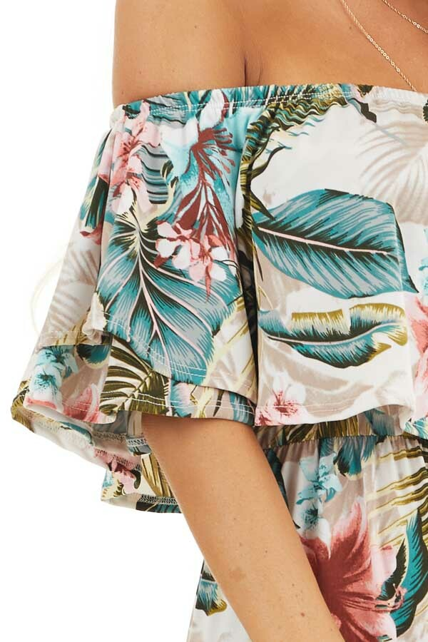 Ivory Tropical Print Off Shoulder Maxi Dress with Ruffle detail