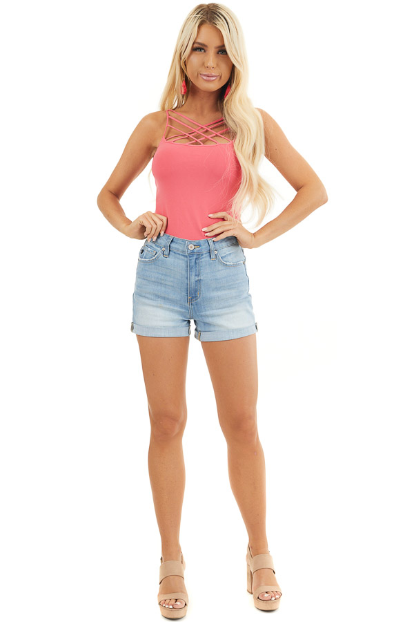 Bright Pink Criss Cross Strappy Camisole front full body