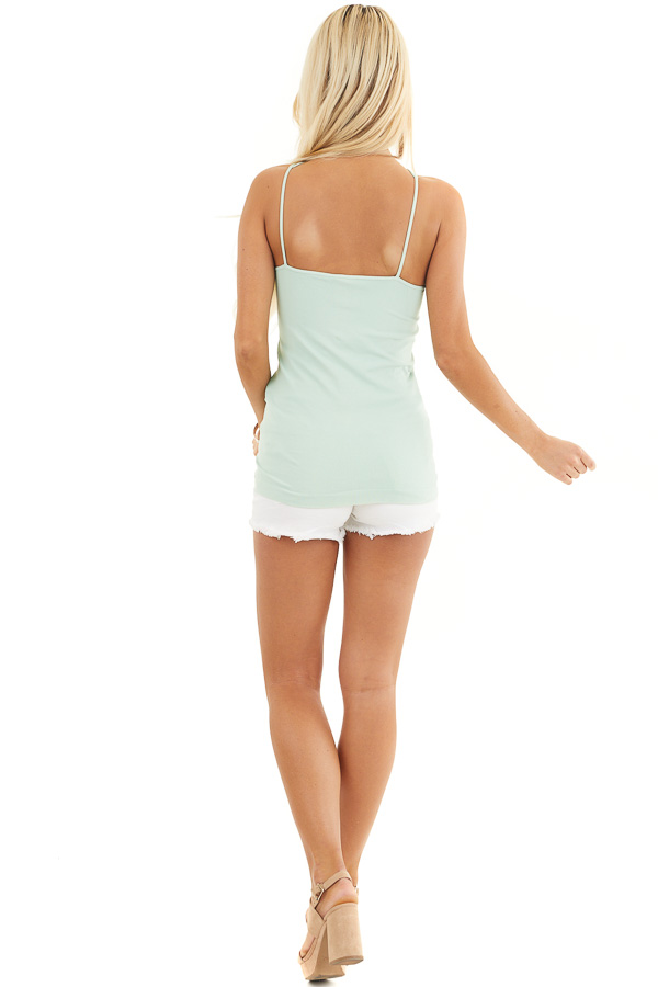 Light Seafoam Criss Cross Strappy Camisole back full body