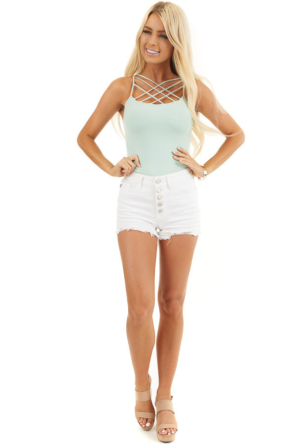 Light Seafoam Criss Cross Strappy Camisole front full body