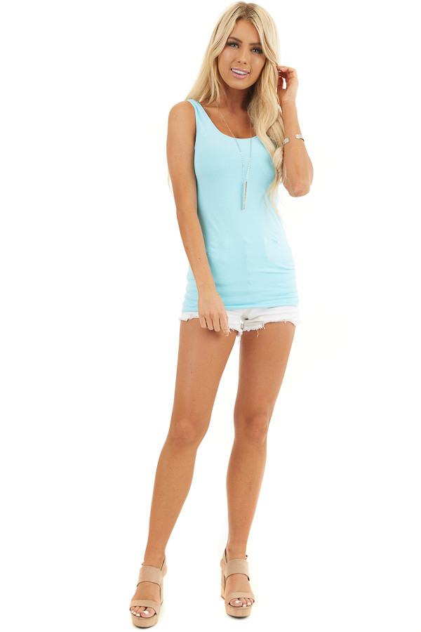 Bright Blue Seamless Long Tank Top front full body