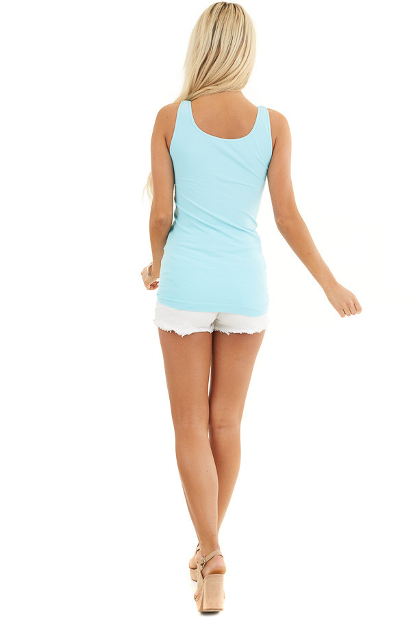 Bright Blue Seamless Long Tank Top back full body