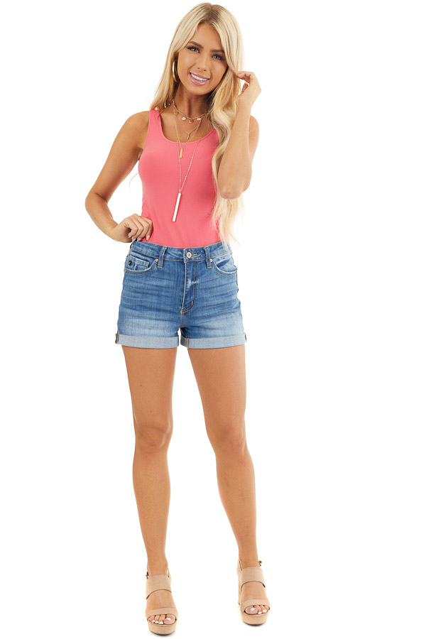 Bright Pink Seamless Long Tank Top front full body