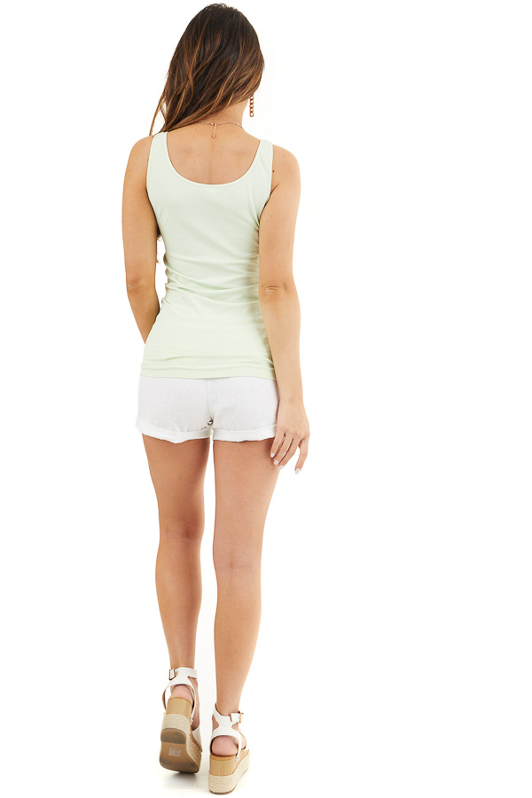 Pistachio Green Seamless Long Tank Top back full body