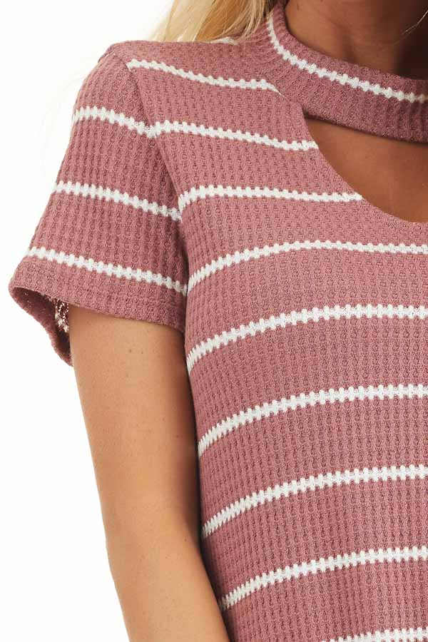 Marsala and Ivory Striped Knit Top with Choker Detail detail