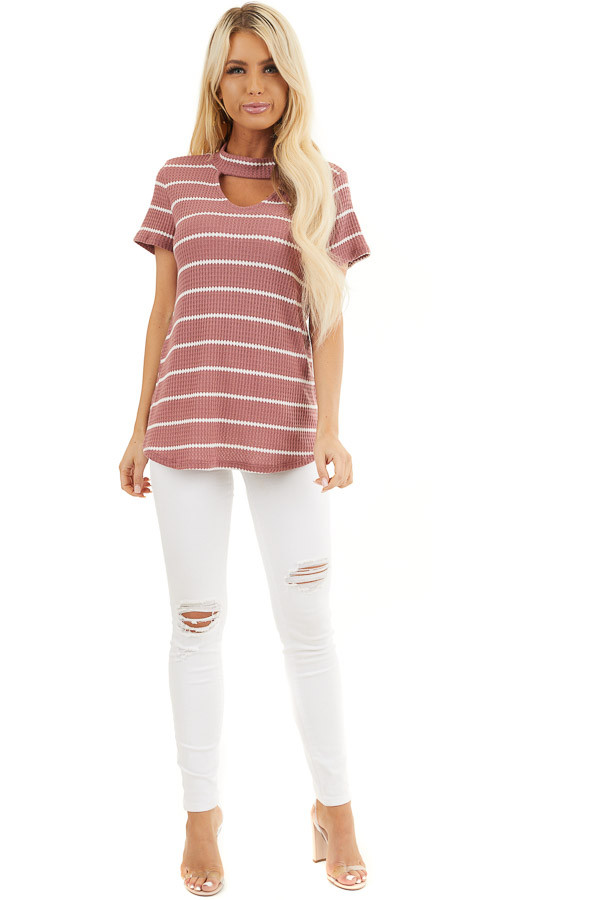 Marsala and Ivory Striped Knit Top with Choker Detail front full body