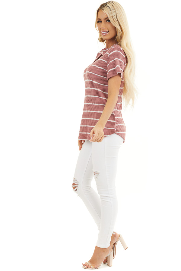 Marsala and Ivory Striped Knit Top with Choker Detail side full body