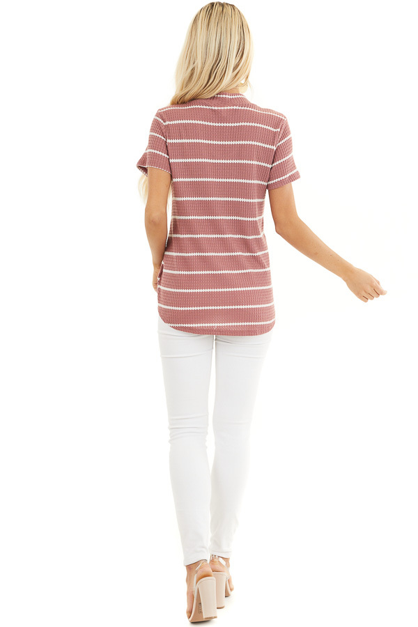 Marsala and Ivory Striped Knit Top with Choker Detail back full body