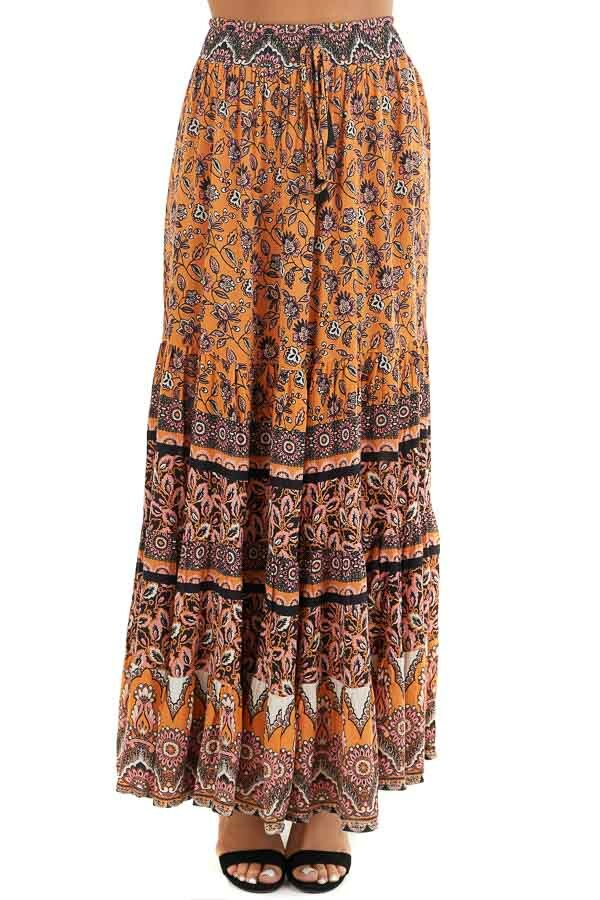 Mango and Black Floral Print Maxi Skirt with Waist Tie front view