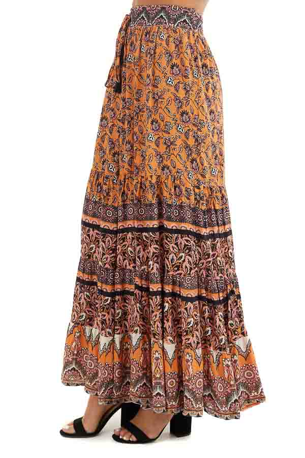 Mango and Black Floral Print Maxi Skirt with Waist Tie side view