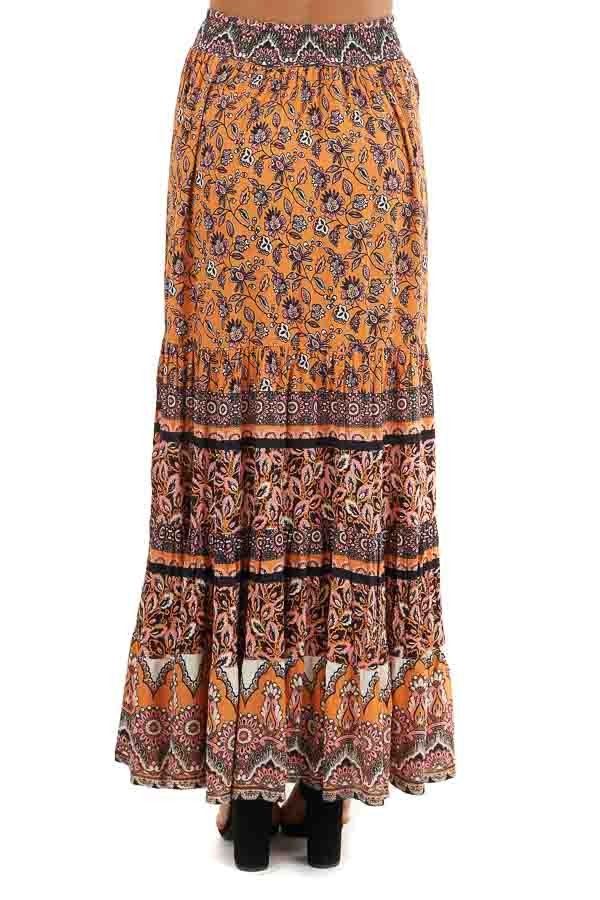 Mango and Black Floral Print Maxi Skirt with Waist Tie back view