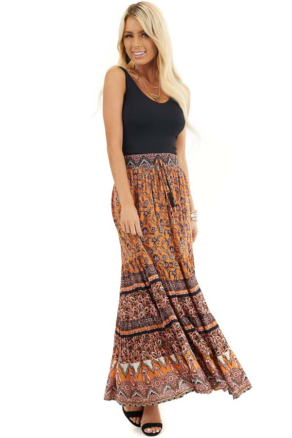 Mango and Black Floral Print Maxi Skirt with Waist Tie front full body