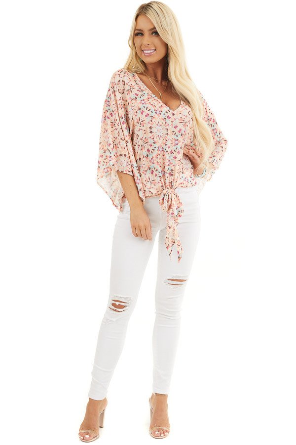 Pale Pink Printed Short Kimono Sleeve Top with Tie Detail front full body