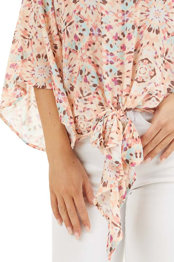 Pale Pink Printed Short Kimono Sleeve Top with Tie Detail detail