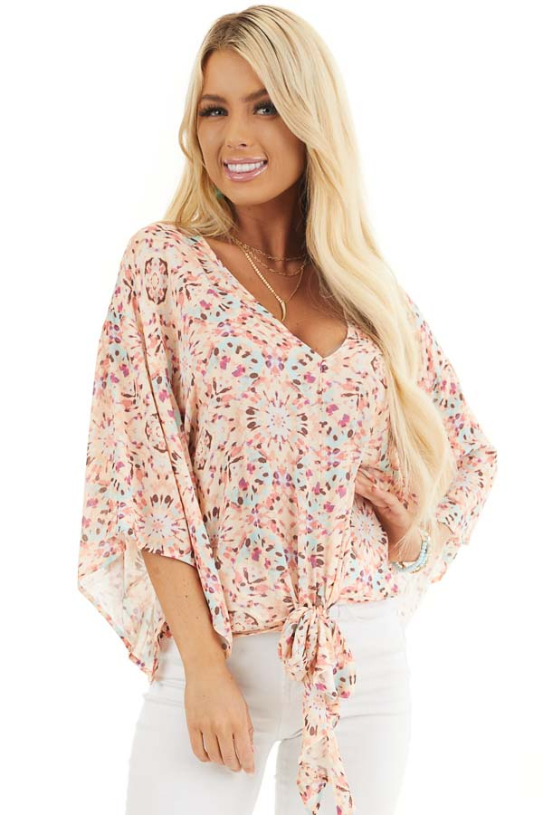 Pale Pink Printed Short Kimono Sleeve Top with Tie Detail front close up