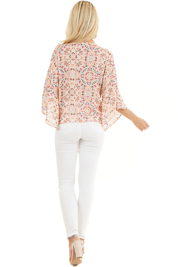 Pale Pink Printed Short Kimono Sleeve Top with Tie Detail back full body