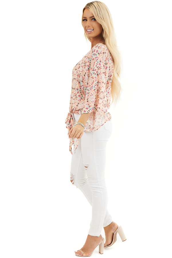 Pale Pink Printed Short Kimono Sleeve Top with Tie Detail side full body