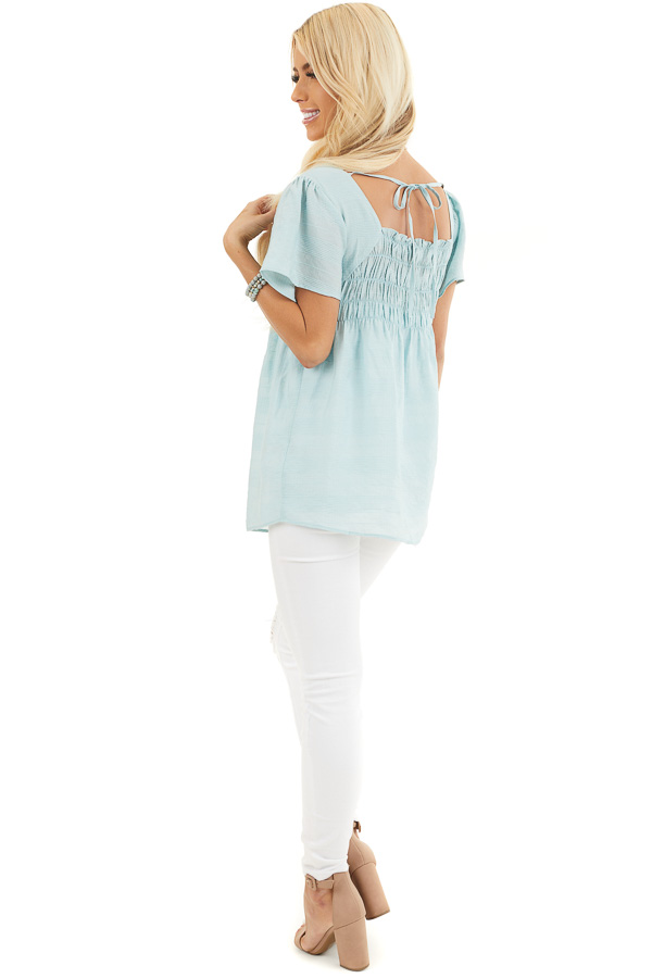 Faded Sage Short Ruffle Sleeve Blouse with Ruched Details side full body