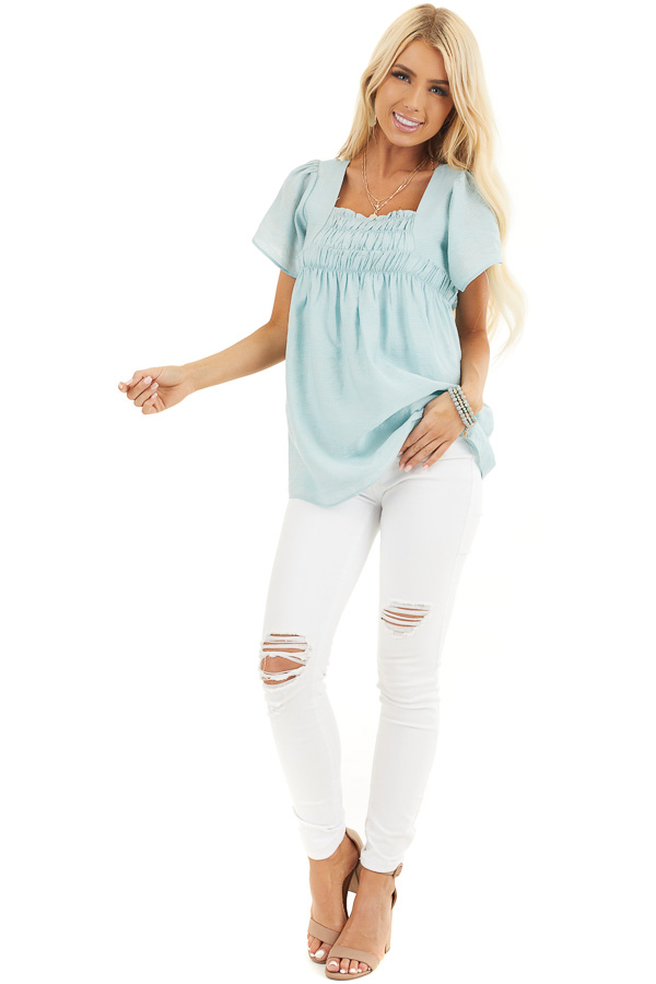 Faded Sage Short Ruffle Sleeve Blouse with Ruched Details front full body