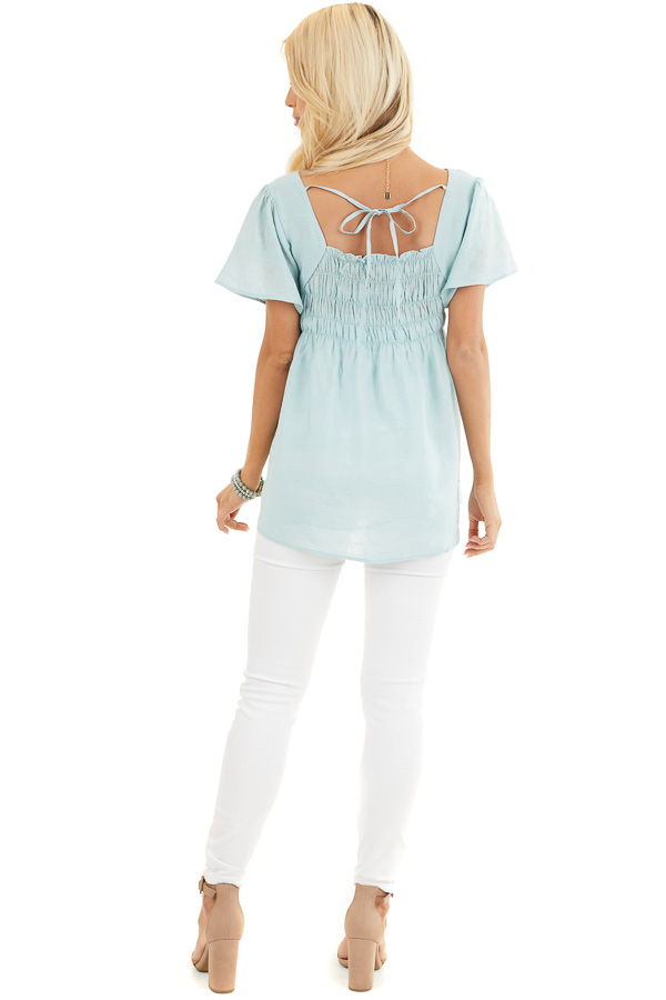 Faded Sage Short Ruffle Sleeve Blouse with Ruched Details back full body