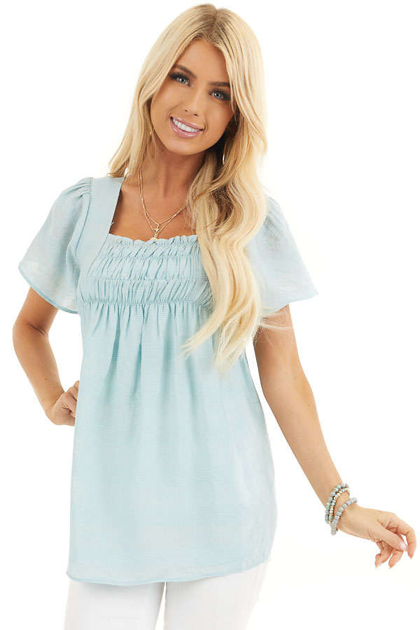 Faded Sage Short Ruffle Sleeve Blouse with Ruched Details front close up