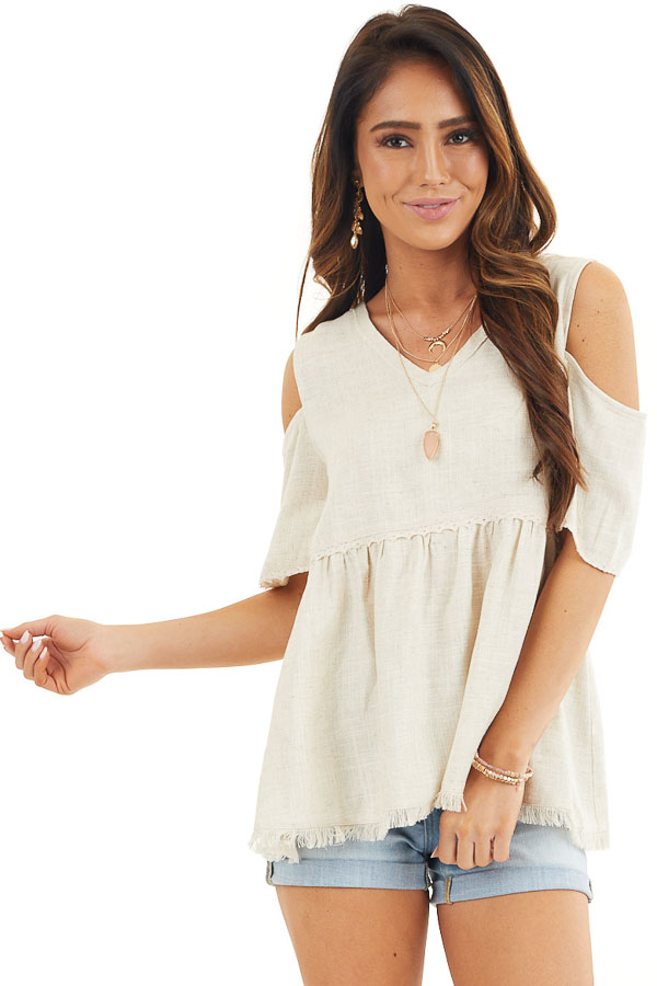 Natural Two Toned Cold Shoulder Babydoll Top with Fringe front close up