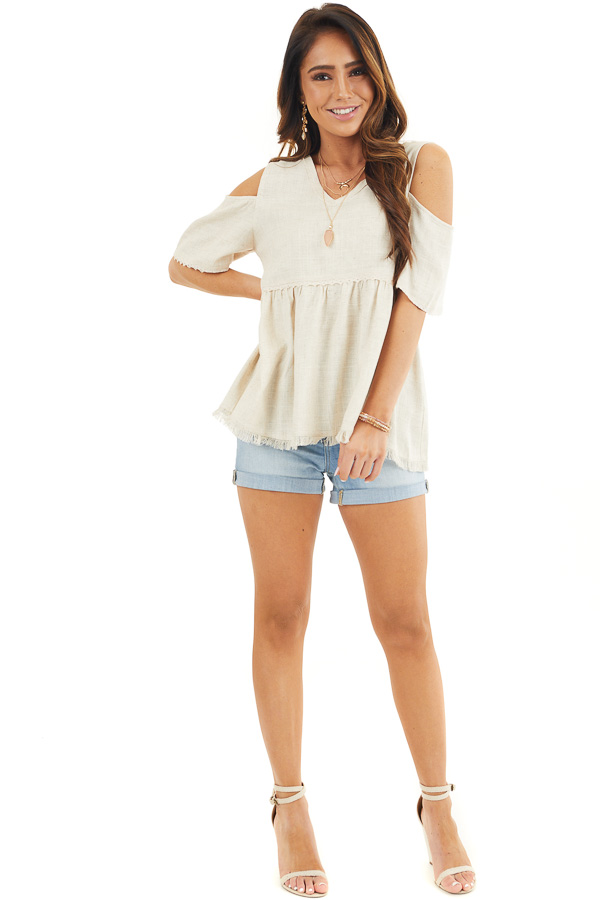 Natural Two Toned Cold Shoulder Babydoll Top with Fringe front full body