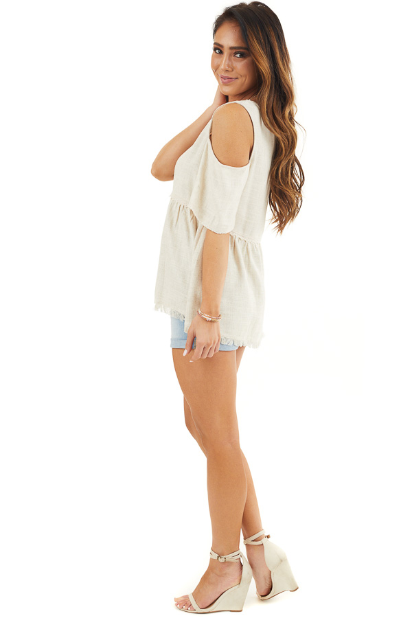 Natural Two Toned Cold Shoulder Babydoll Top with Fringe side full body