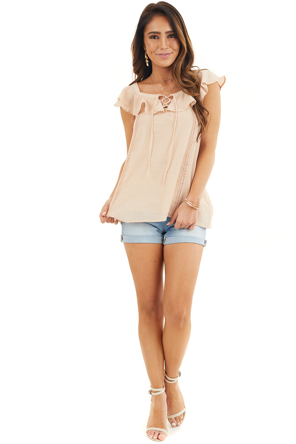 Light Peach Ruffle Sleeve Blouse with Lace Up Front Detail front full body