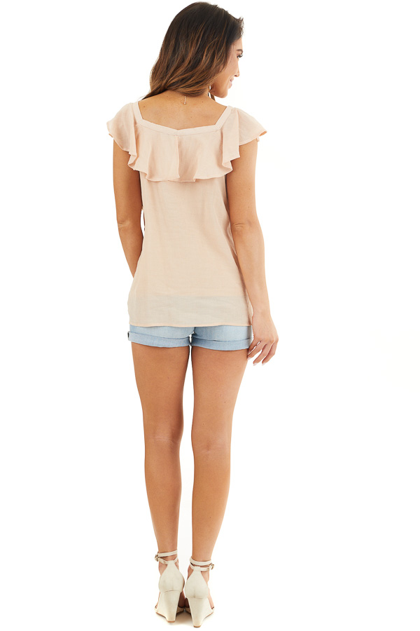 Light Peach Ruffle Sleeve Blouse with Lace Up Front Detail back full body