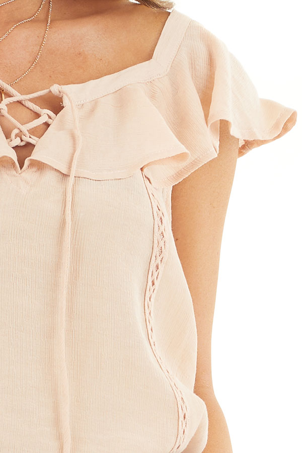 Light Peach Ruffle Sleeve Blouse with Lace Up Front Detail detail