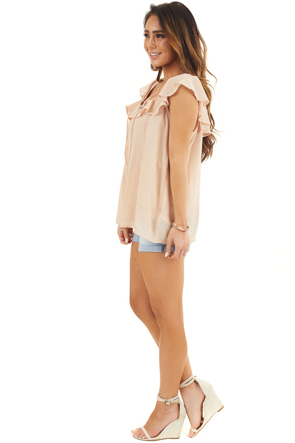 Light Peach Ruffle Sleeve Blouse with Lace Up Front Detail side full body