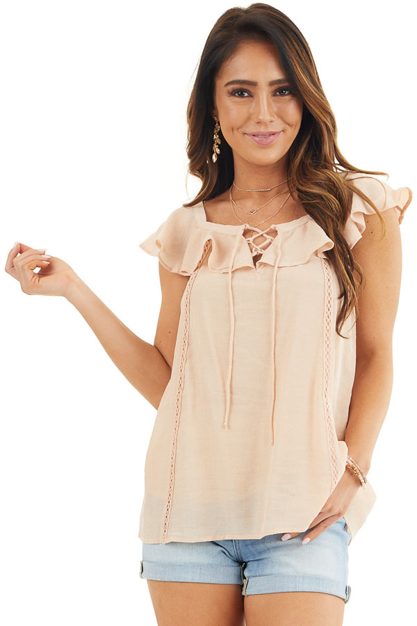 Light Peach Ruffle Sleeve Blouse with Lace Up Front Detail front close up
