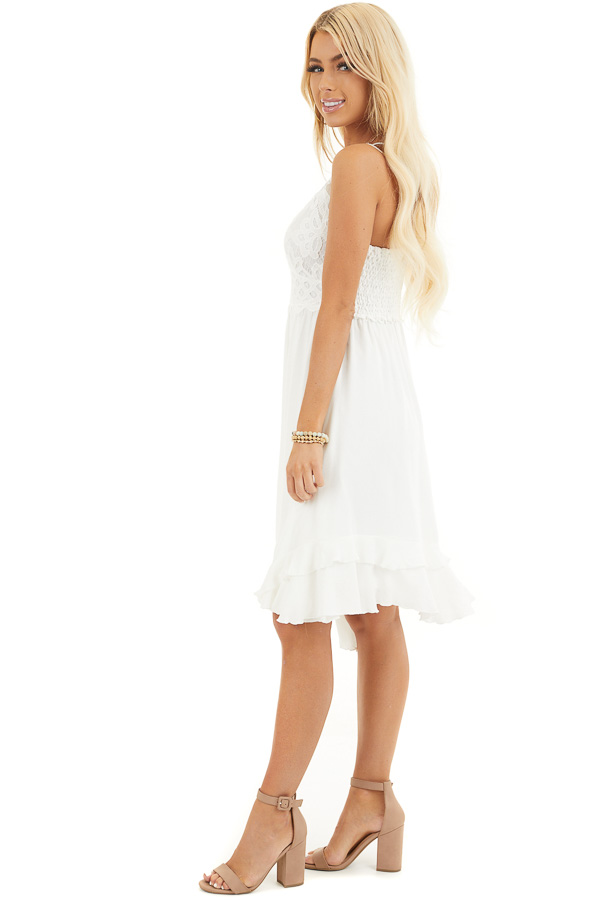 White Sleeveless Woven Dress with Lace Bust side full body