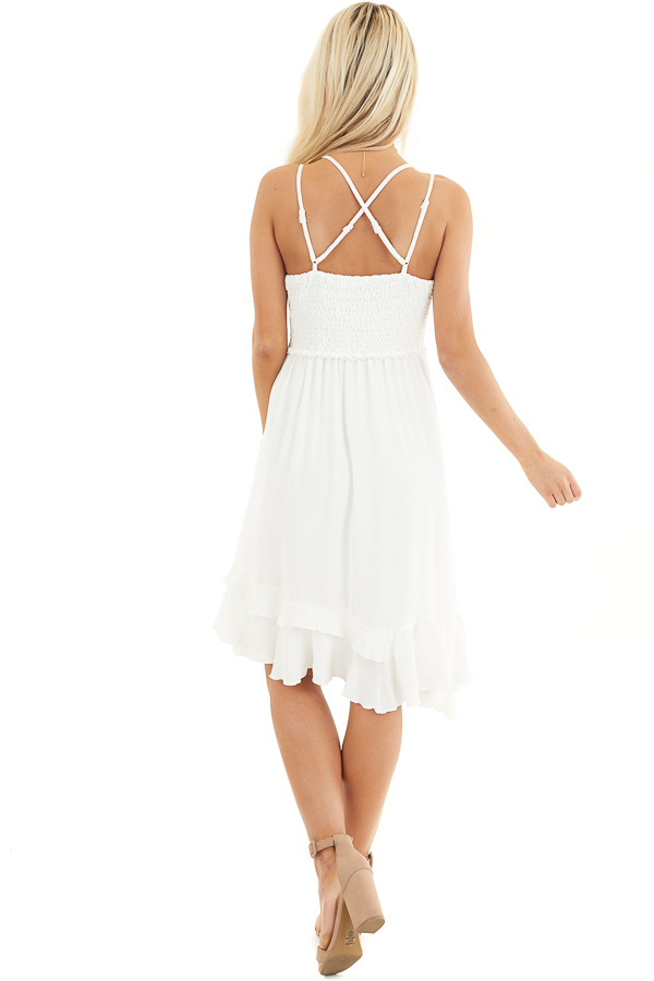 White Sleeveless Woven Dress with Lace Bust back full body