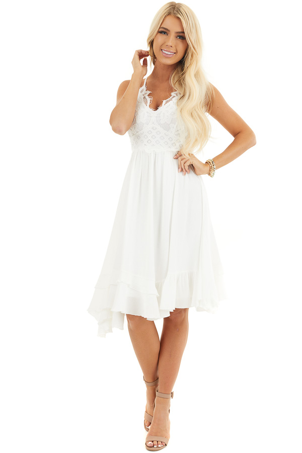 White Sleeveless Woven Dress with Lace Bust front full body