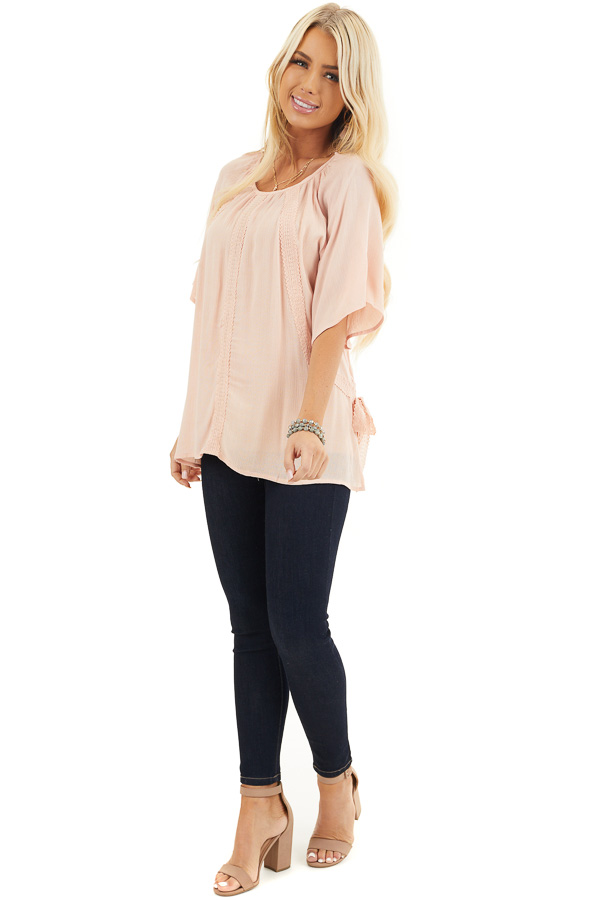 Blush Short Sleeve Top with Crochet Lace and Tie Detail front full body