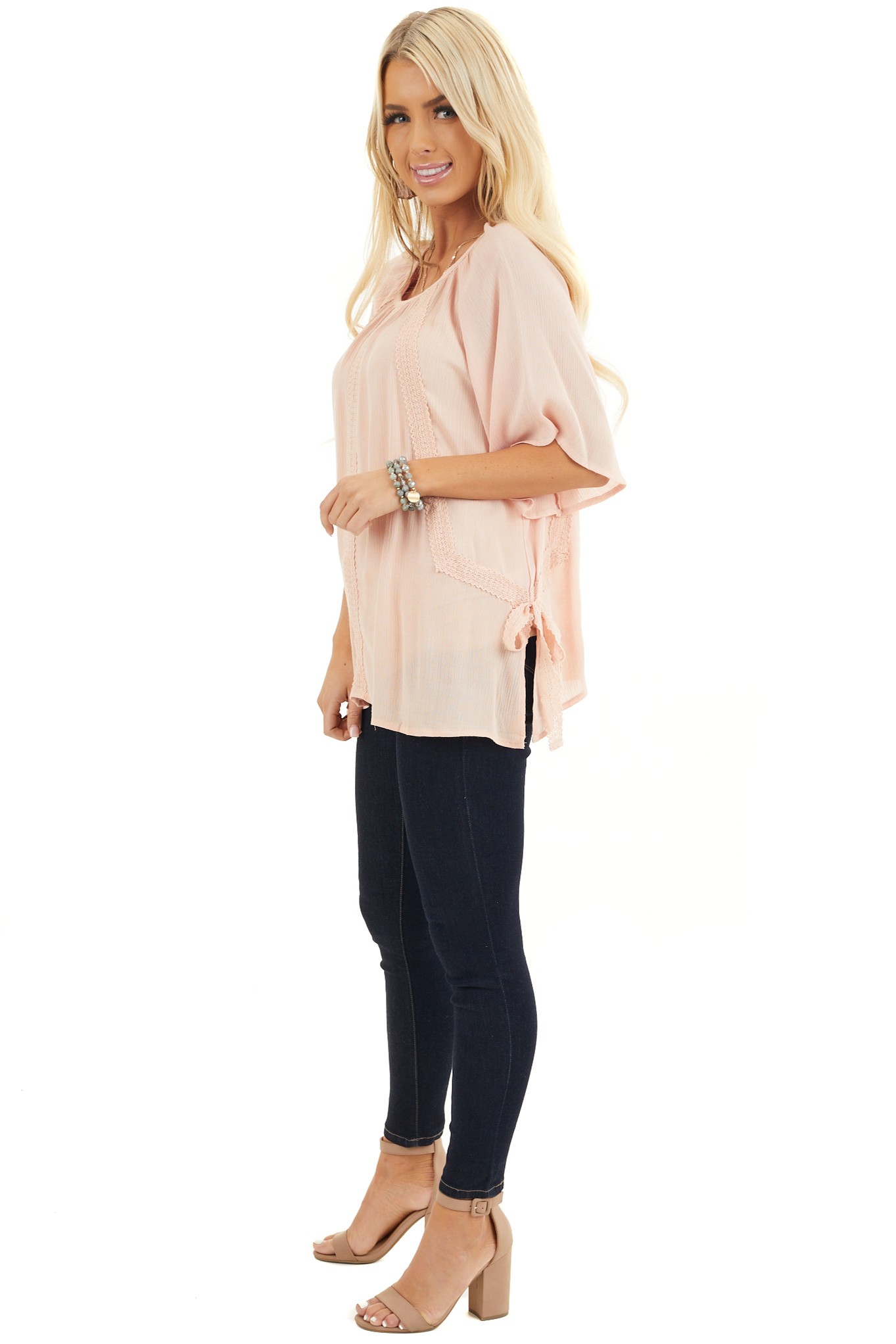 Blush Short Sleeve Top with Crochet Lace and Tie Detail side full body