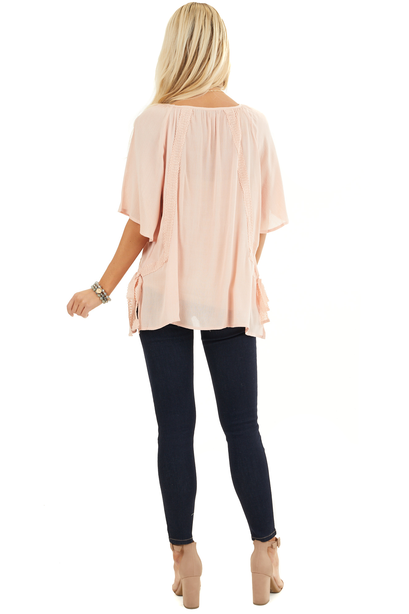 Blush Short Sleeve Top with Crochet Lace and Tie Detail back full body