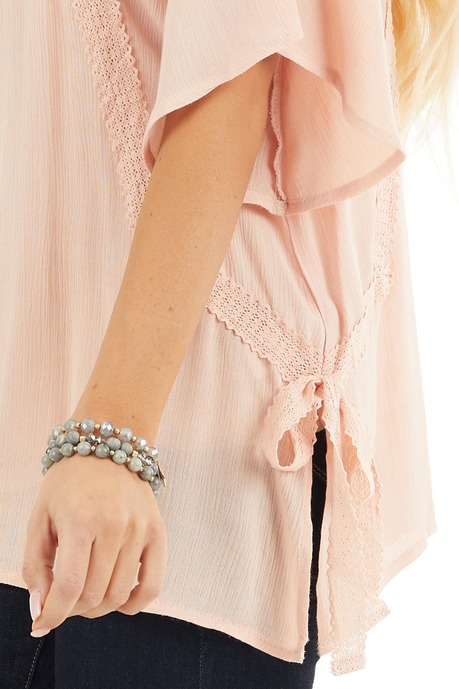 Blush Short Sleeve Top with Crochet Lace and Tie Detail detail