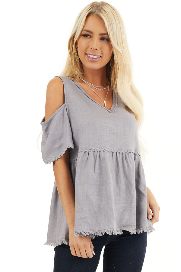 Dusty Lilac Two Toned Cold Shoulder Babydoll Top with Fringe front close up