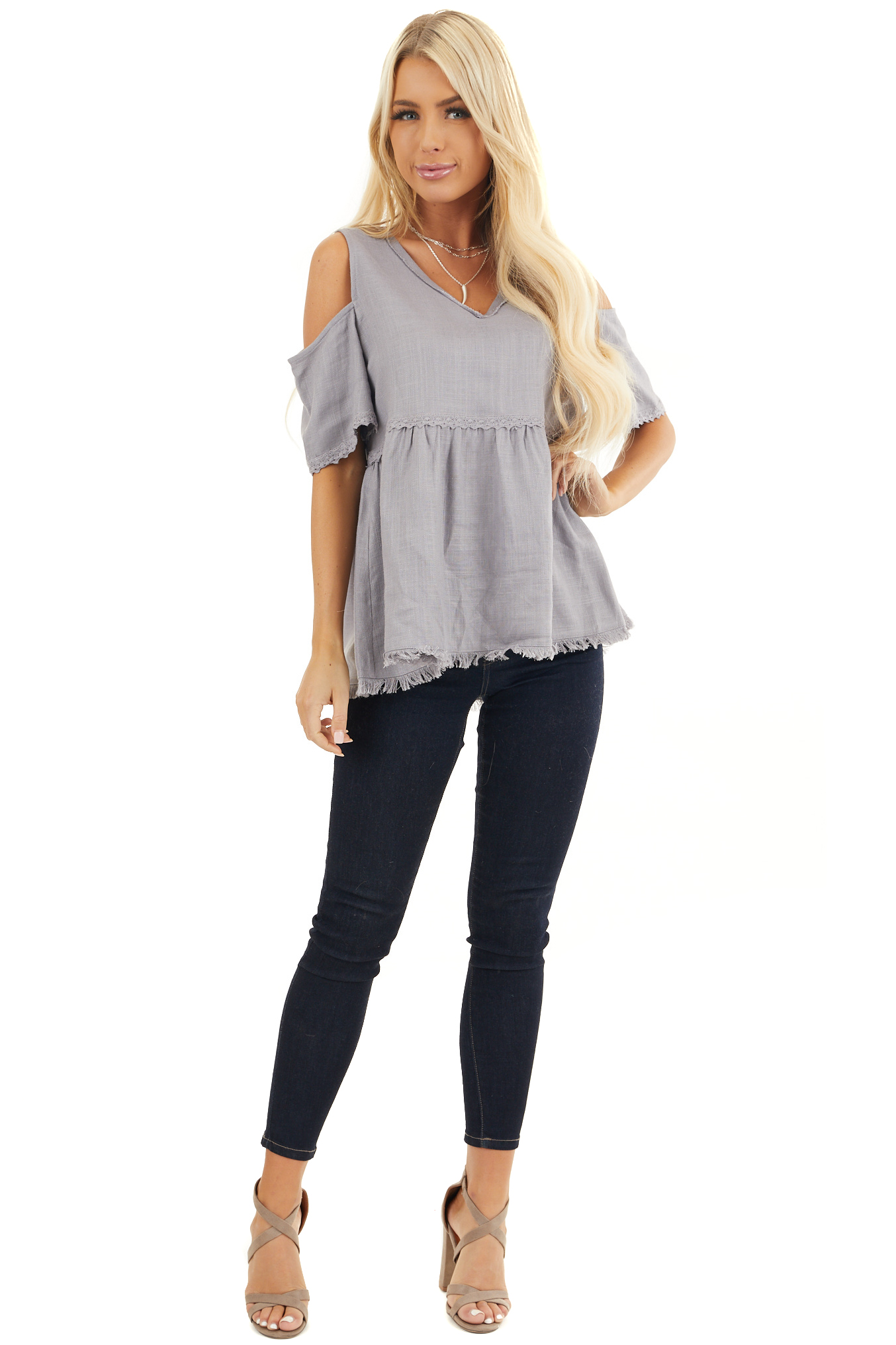 Dusty Lilac Two Toned Cold Shoulder Babydoll Top with Fringe front full body