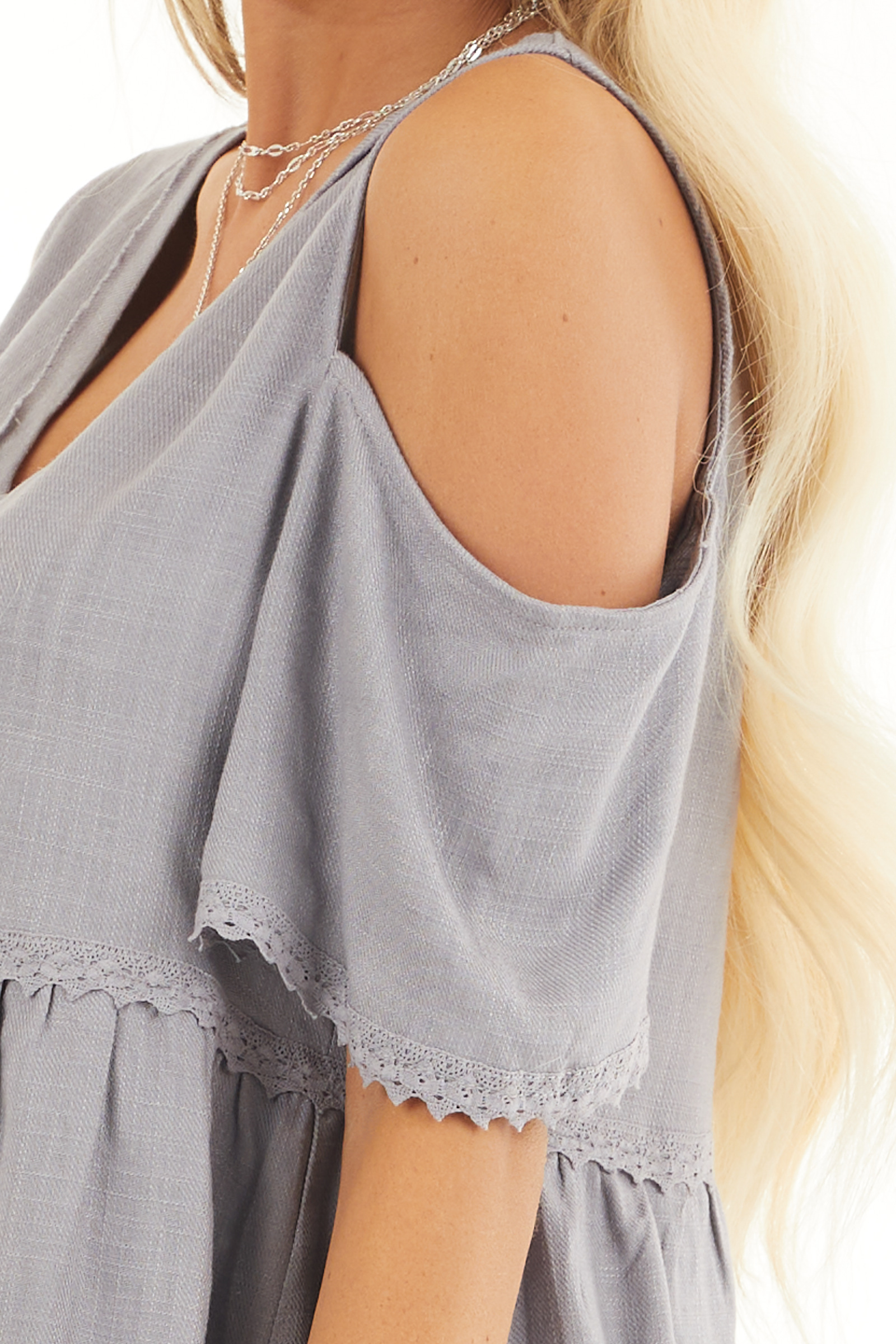 Dusty Lilac Two Toned Cold Shoulder Babydoll Top with Fringe detail