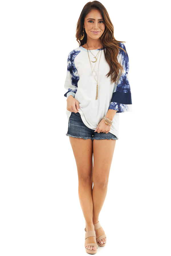Off White Knit Top with Navy Blue Tie Dye Bell Sleeves front full body
