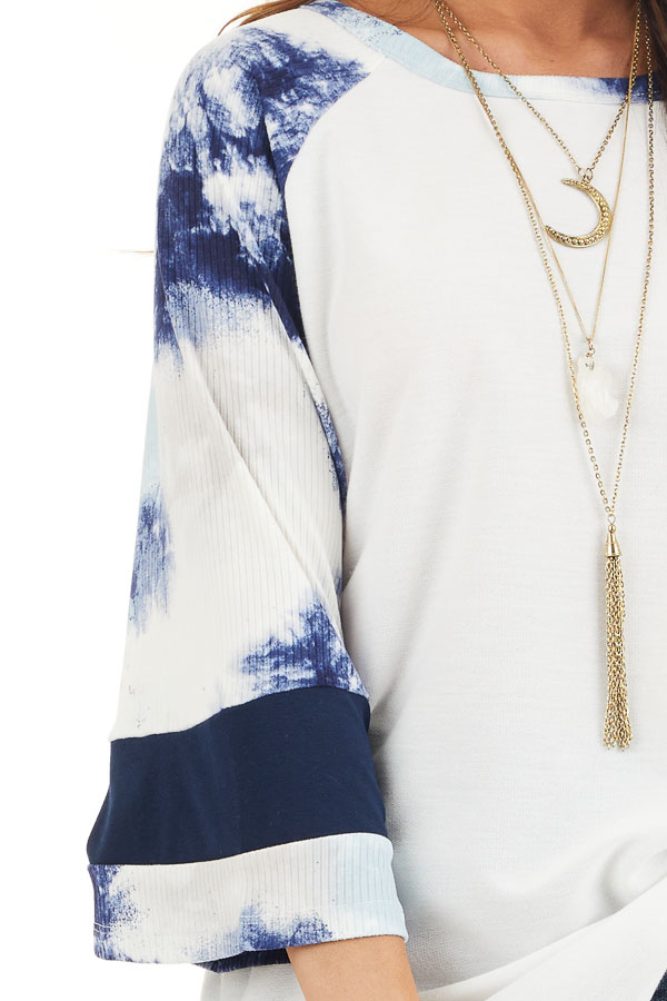 Off White Knit Top with Navy Blue Tie Dye Bell Sleeves detail