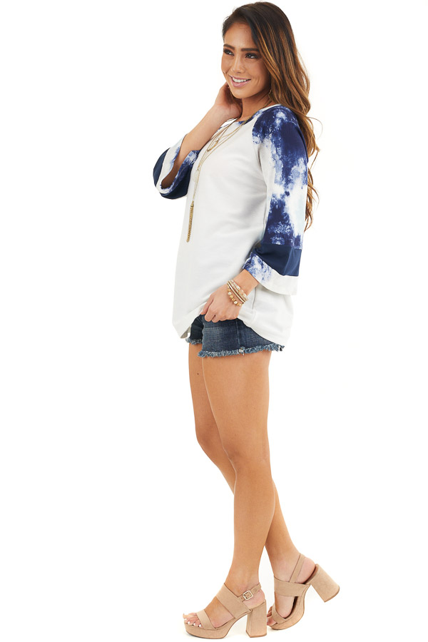 Off White Knit Top with Navy Blue Tie Dye Bell Sleeves side full body